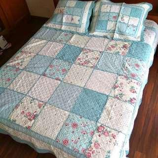 230 x 250 Shabby Chic Bed Cover Set Quilt Patchwork