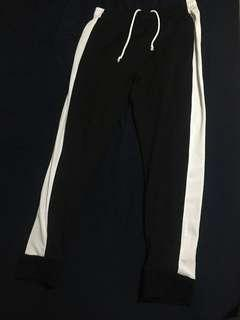 black and white jogging pants size Large
