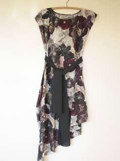 Asymmetrical digital flower dress