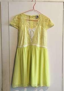 ASOS Afternoon Short Dress / Yellow Dress / Lemon Dress / Wedding attire / dress code for garden party
