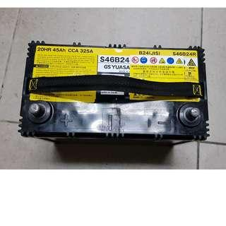 (二手中古電池) 油電車輔助電池 GSYUASA S46B24R-SMF免保養汽車電池 數值漂亮,品項優