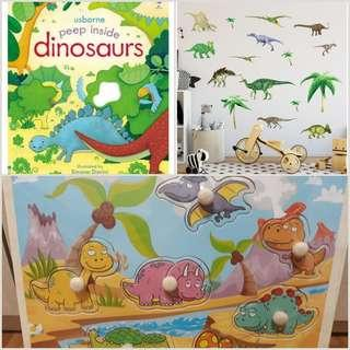 Dinosaur Set A - book, puzzle, large wall stickers