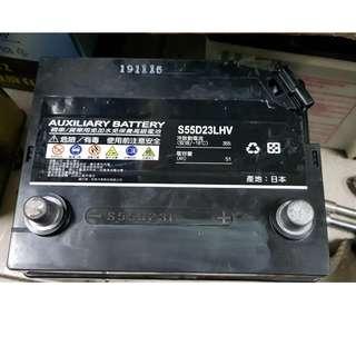 (二手中古電池) 油電車專用輔助電池 日本原廠 S55D23L-免保養汽車電池 數值漂亮,品項優