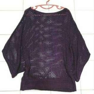 Maroon Knitted Batwing Top