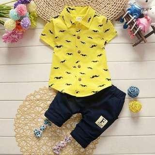 Fashion Baby Boys Clothes 2018 Summer T-shirt +Plaid Pants (Yellow)