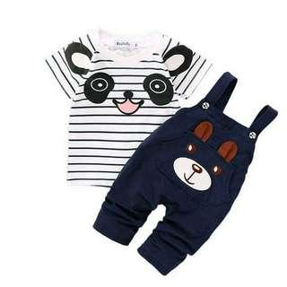 Fashion Baby Boys Clothes 2018 panda cartoon T-shirt + Jumpsuit set (Blue)