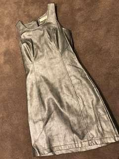 Silver Leather Look Dress