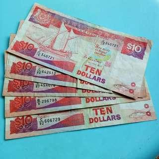 Singapore $10 ship series USED notes