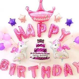 Unicorn happy birthday balloon set