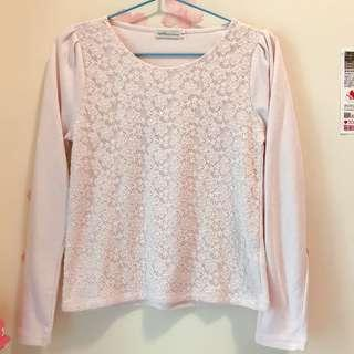 New earth music pink lace top