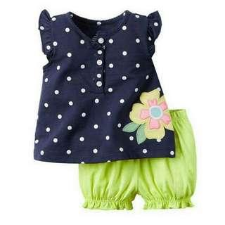 Summer Baby Girls Clothing Sets Flower Infant Clothes Girl Toddler Kids Top Tshirts Shorts 2piece Sets