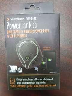 PowerTank Go high capacity outdoor power pack with LED flashlight