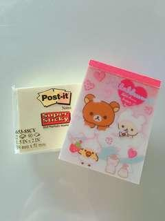 rilakkuma notepad + post it set!!