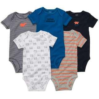 Carter's Baby Bodysuit Romper Short Sleeve 5Pcs Baby Boy Girl (Random Design)