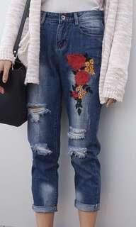 embroidered bf jeans