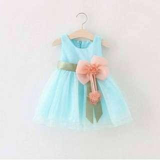 Baby girls sleeveless lace  princess dress (Blue)