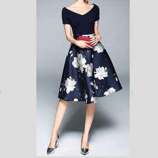 Floral Printed V Neck Dinner Dress