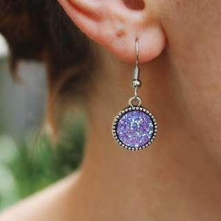 Handmade Purple Glitter Dangles