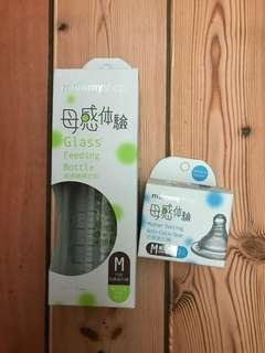 🚚 mammyshop寬口徑玻璃哺育奶瓶