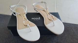 Womens Seed summer flats 39 leather NEW