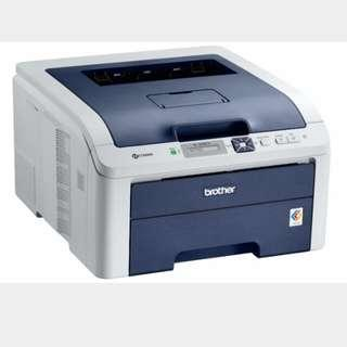 Brother Printer HL-3040CN (1 Used & 1 New but opened ) + 3 New Color Cartridges.