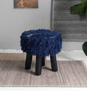🚚 45x45cm Shaggy Wool Stool Foot Rest