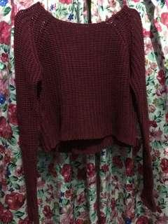 COLORBOX CROP MAROON SWEATER