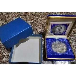 🚚 民國75年先總統蔣公百年誕辰紀念銀章 BU 全新未拆封 完整原盒證