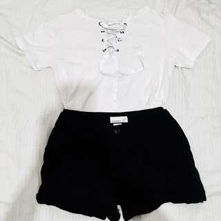 REPRICED White Lace Up Top