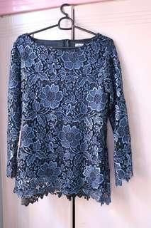 ZALIA Blue Lace Top