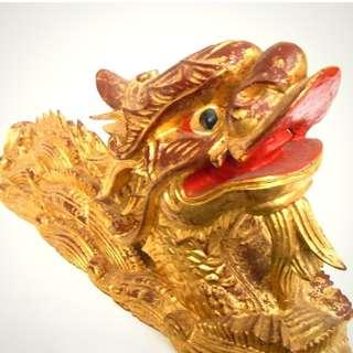 Chinese gilded hand carved wooden dragon sculpture, early 20th