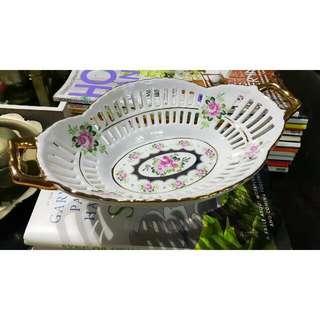 Oval Rose Motif Porcelain Bowl
