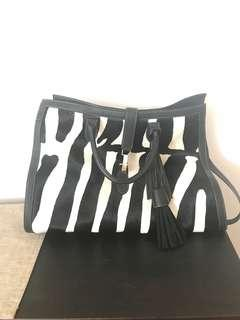 Zebra, genuine leather tote