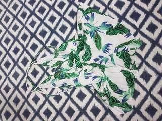 Ava Tropical Playsuit 10 White Green Blue Leaf