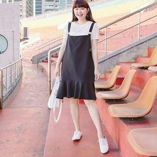 全新兩件式黑色圓環吊帶魚尾長裙套裝魚尾吊帶長洋裝3XL號3L號肉肉棉花糖女孩大尺碼可