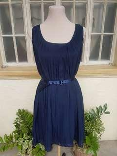 Tommy Hilfiger Navy Blue Pleated Dress