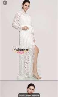White lace maxi bridal robe