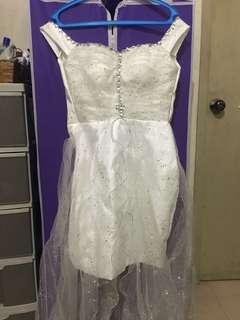Silver/White Long Gown Off Shoulder PromGlittery Evening Gown