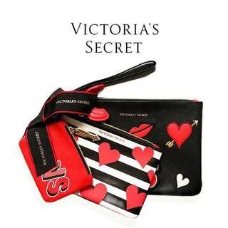 VS Victoria's Secret Set 3PC Cosmetics Clutch / Pouch