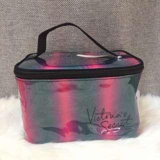 VS Victoria's Secret PVC Stripe Makeup Pouch