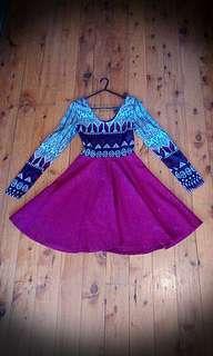 RED Maroon Burgundy Low Back Umbrella Skirt Long Sleeve Contour Mini Dress