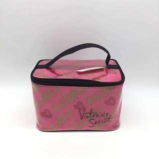 VS Victoria's Secret PVC Stripe Pink Makeup Pouch