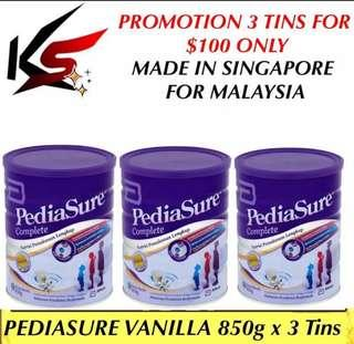 PROMOTION PEDIASURE VANILLA & CHOCOLATE MILK POWDER 850g x 3 Tins $100 INCLUDING FREE DELIVERY MADE IN SINGAPORE FOR MALAYSIA