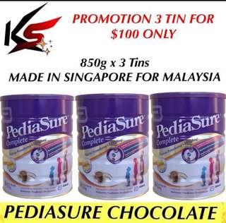 PROMOTION PEDIASURE VANILLA / CHOCOLATE MILK POWDER 850g x 3 Tins $100 INCLUDING FREE DELIVERY MADE IN SINGAPORE FOR MALAYSIA