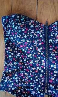 Unique Floral Front Zip Semi Corset Style Crop Top