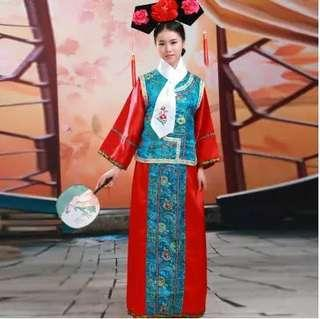 Qing Dynasty Princess GeGe Costume Dress Gown Attire Cosplay Role Play 格格戏服