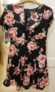 Summer flowery black dress