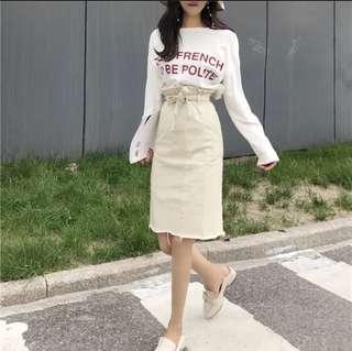 Instock Denim mid length skirt