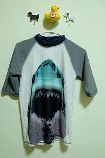 大童鯊魚上身泳衣 短袖泳衣