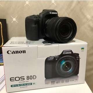 【賠售】9/25購買的Canon 80D Kit組,9.5成新 相機王保固中